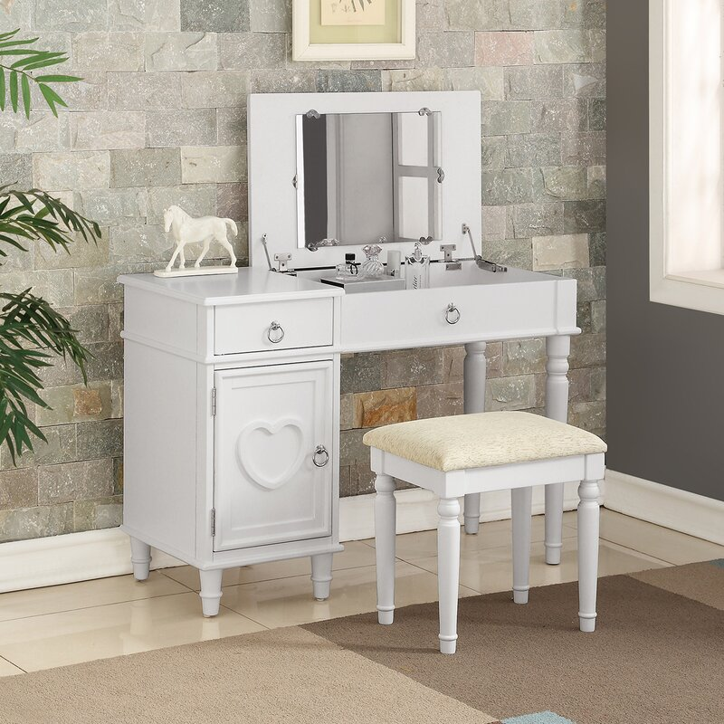 vanity desk with mirror and lights. Strathmore Flip up Vanity Set with Mirror Makeup Tables and Vanities You ll Love  Wayfair