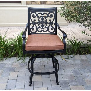 Berenice Patio Counter Height Swivel Bar Stool with Cushion (Set of 6) (Set of 6)