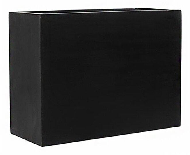 "17 Stories  Creasman Long Rectangular Fiberstone Planter Box Size: 10"" H x 12"" W x 39"" D, Color: Black"