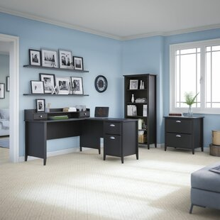 Connecticut 4 Piece L-Shape Desk Office Suite by Kathy Ireland Home Bush Furniture Spacial Price