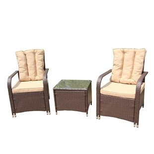 Sarai 3 Piece Rattan 2 Person Seating Group with Cushions by Charlton Home