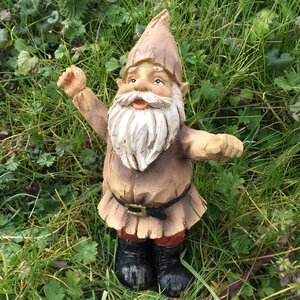 Celebrating Arms in the Air Woodland Gnome Outdoor Garden Statue