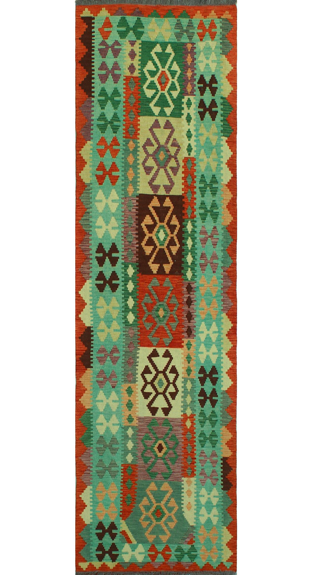 Foundry Select Hults Handmade Kilim Wool Green Rug Wayfair
