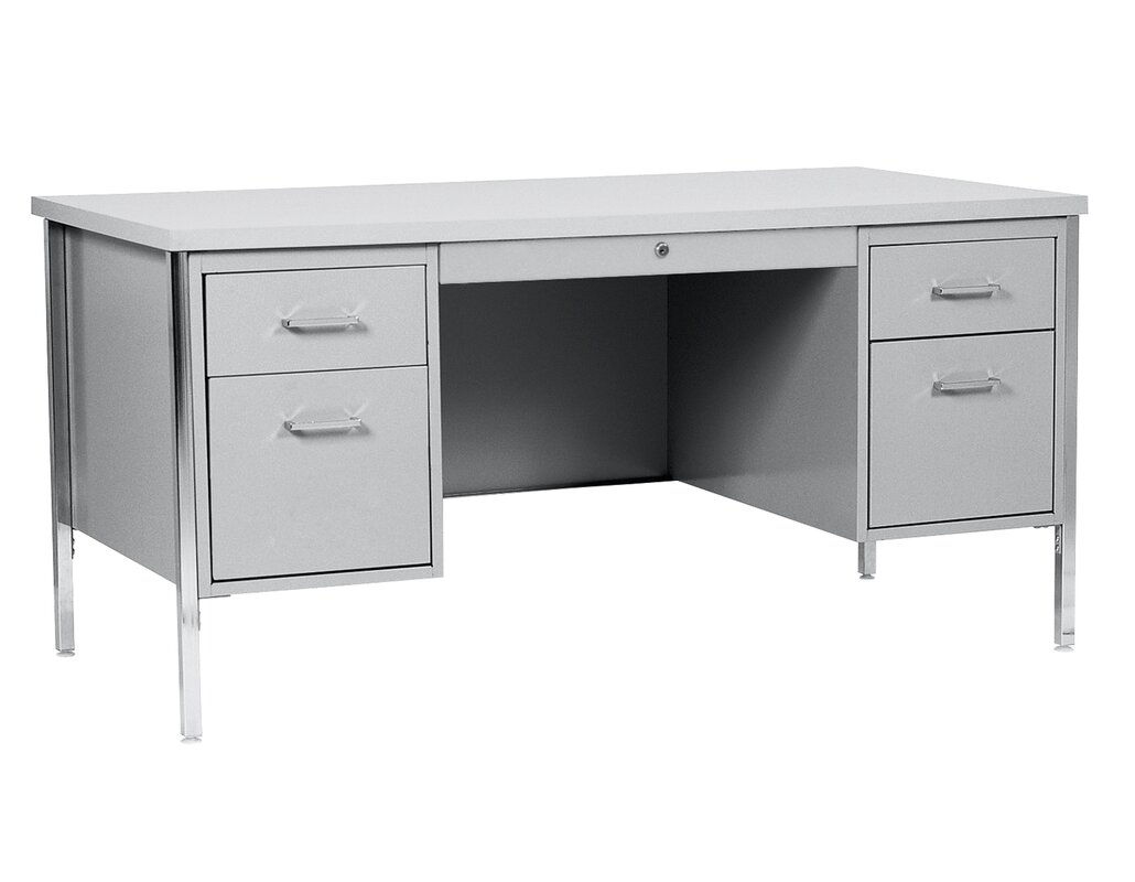 White Executive Desk With Drawers sandusky 500 series 5 drawers double pedestal executive desk