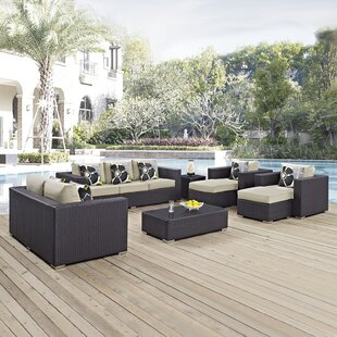 Ryele 9 Piece Rattan Sectional Set with Cushions By Latitude Run