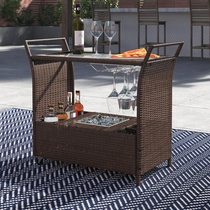 Winston Porter Stewood Patio Bar Serving Cart & Reviews ...
