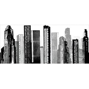 "Cityscape Giant 18"" x 38.75"" 3D Embossed Wall Mural"