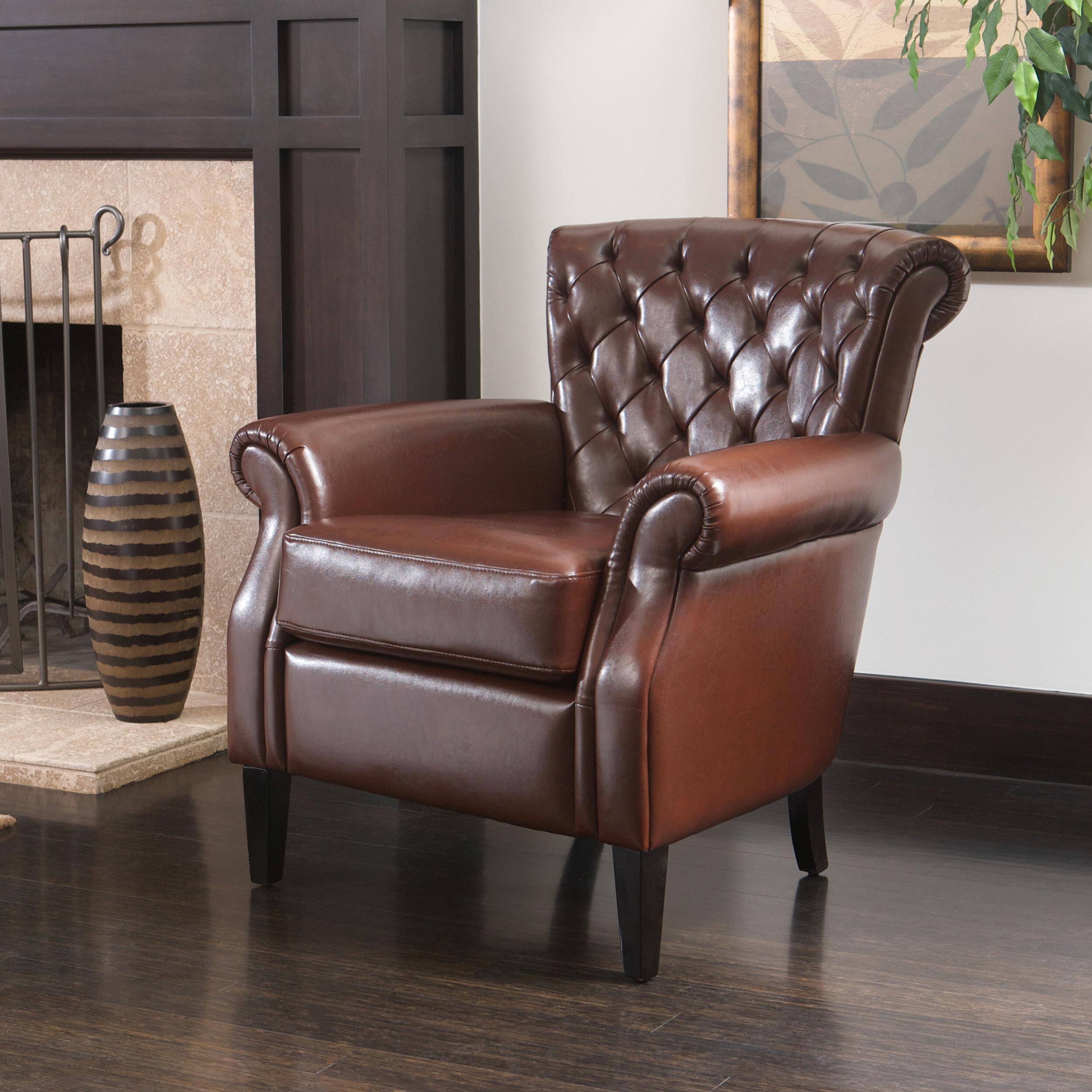 Charlton Home Lemke 35 25 W Tufted Faux Leather Club Chair Reviews Wayfair