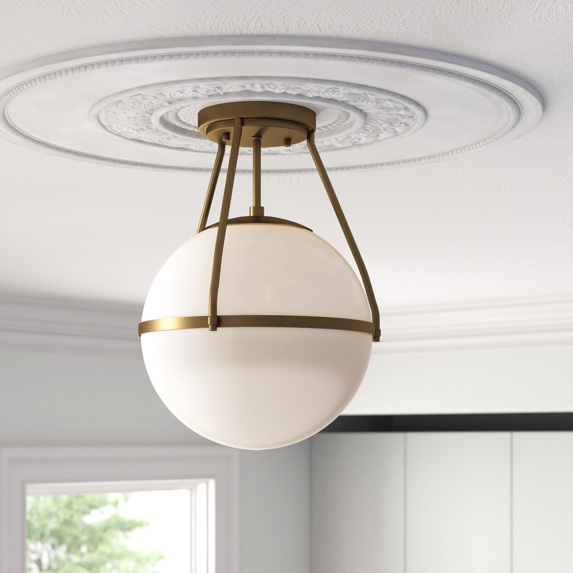 Light 13 Simple Globe Semi Flush Mount