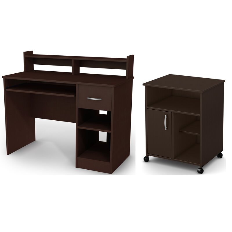 South Shore Axess Writing Desk with Keyboard Tray and Printer