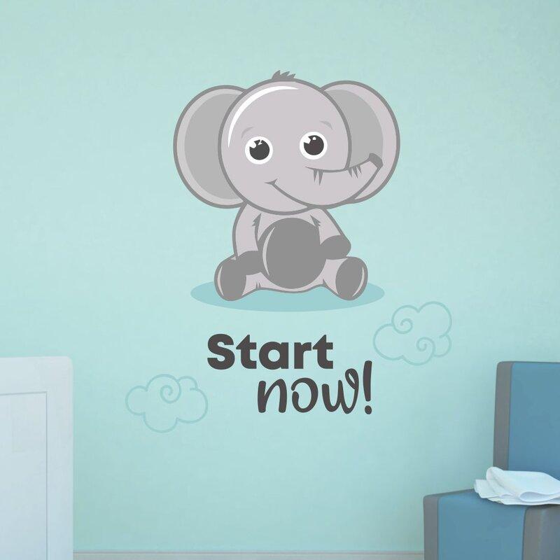 Zoomie Kids Start Now Elephant Vinyl Wall Decal Wayfair