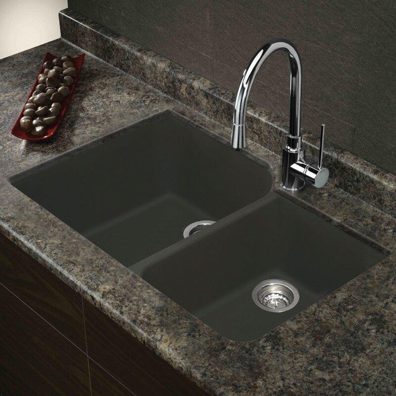 """Undermount Kitchen Sink Granite transolid radius 31"""" x 20"""" granite double offset undermount"""