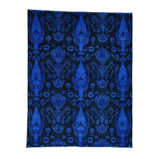 One-of-a-Kind Pure and Overdyed Hand-Knotted 8' x 10'3 Wool Blue/Black Area Rug 1800GETARUG