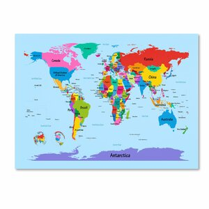 'Childrens World Map' by Michael Tompsett Framed Graphic Art on Wrapped Canvas