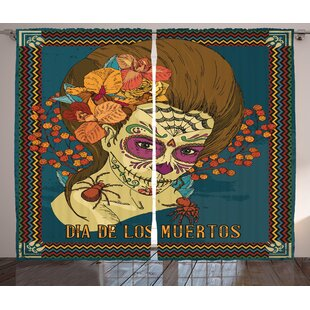 Katrina Day of The Dead Graphic Print and Text Semi-Sheer Rod Pocket Curtain Panels (Set of 2) by Latitude Run
