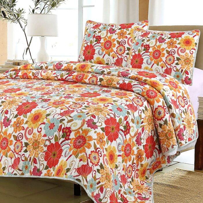 Huis Cotton Floral Pink Purple Summer Spring Flowers Reversible Bedspread Quilt Set Beddengoed, bedlinnen