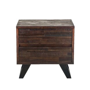 Alley Acacia Wood 2 Drawer Nightstand