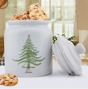 Personalized Christmas Tree Holiday Cookie Jar