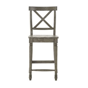 Petrucci Reclaimed Wood X-Back 24 Bar Stool (Set of 2) by Alcott Hill