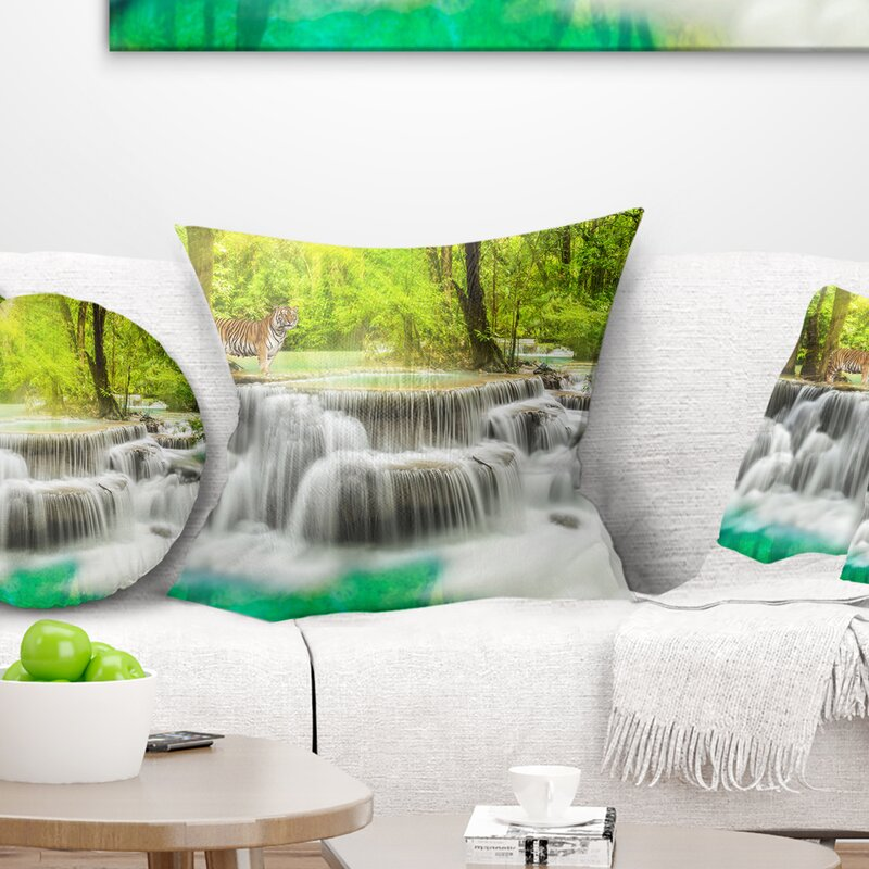 East Urban Home Photography Erawan Waterfall In Kanchanaburi Throw Pillow Wayfair