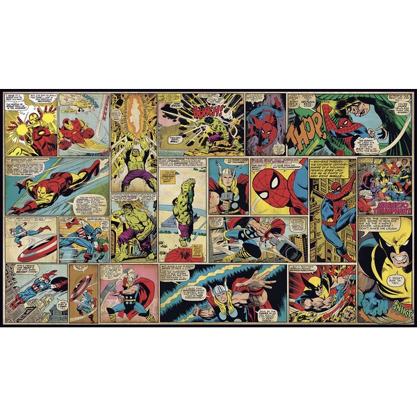 Awesome York Wallcoverings Walt Disney Kids II Marvel Classic Comic 10.5u0027 X 72 Part 2