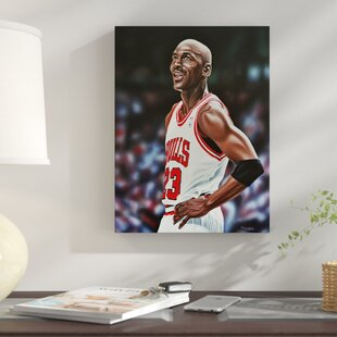 'Michael Jordan Chicago Bulls' Rectangle Oil Painting Print on Wrapped Canvas by East Urban Home