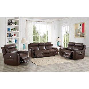 Red Barrel Studio Efren Reclining 3 Piece Leather Living Room Set