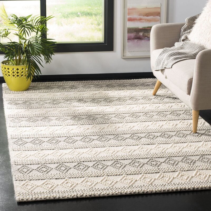 Gracie Oaks Diara Handwoven Wool/Cotton Grey/Ivory Area Rug 8 x 10