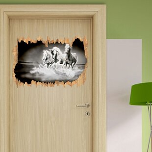 Wild Horses Run In Water Wall Sticker By East Urban Home