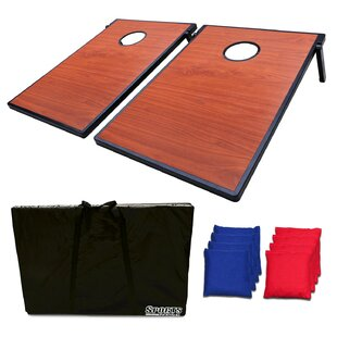 Festival Depot Horizontal Wooden Texture Bean Bag Toss Game and Tic Tac Toe Cornhole