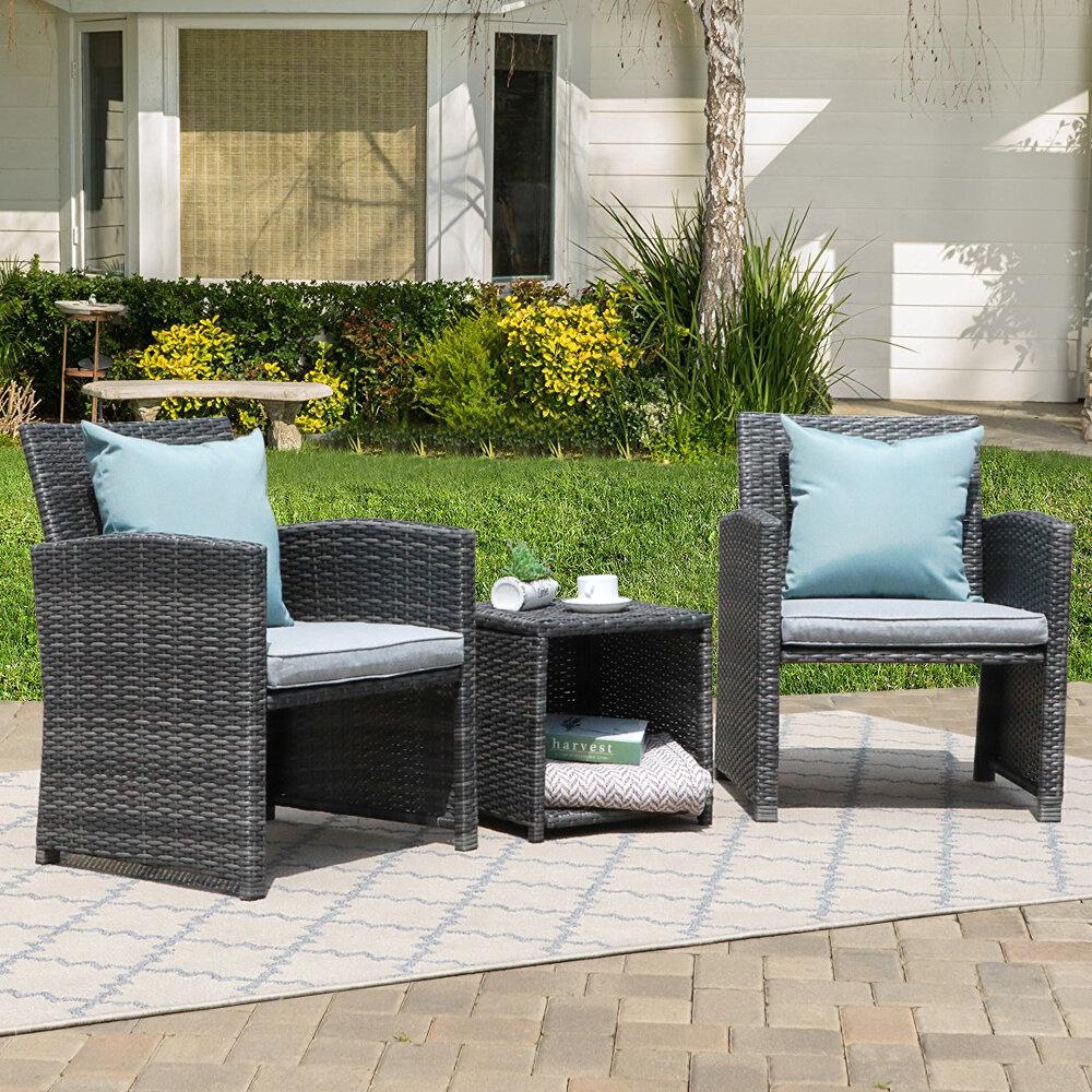 Latitude Run Rand 3 Piece Rattan Seating Group With Cushions Reviews Wayfair
