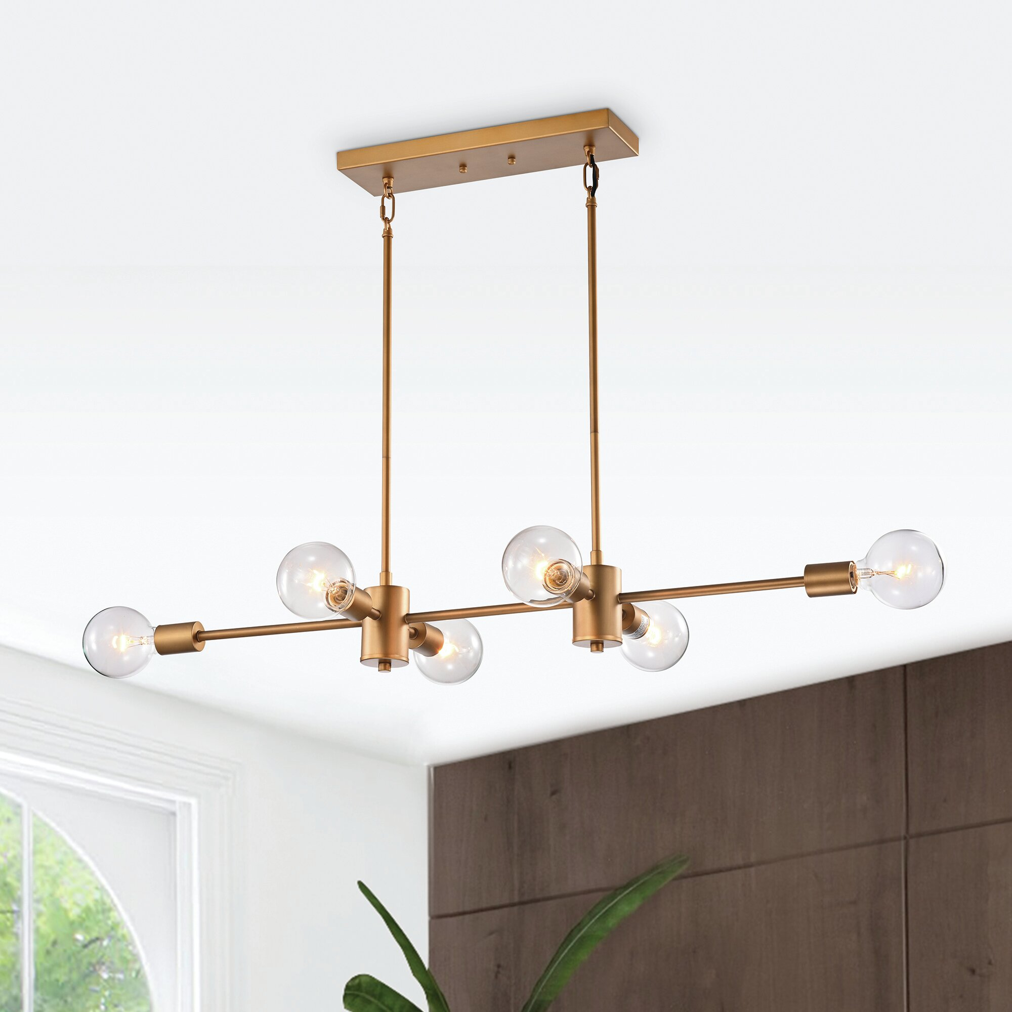 Gold Flamingo Gavyn 6 Light Kitchen Island Linear Pendant Reviews Wayfair