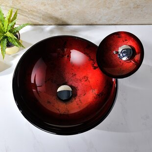 ANZZI Tone Glass Circular Vessel Bathroom Sink with Faucet