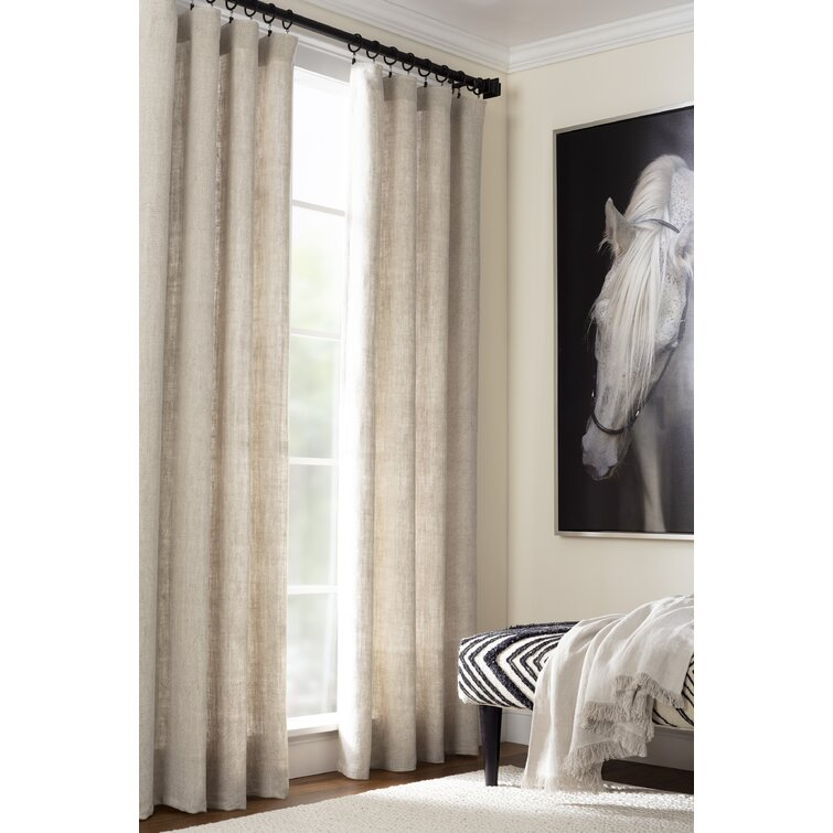 Stone Washed Linen Solid Room Darkening Pinch Pleat Rod Pocket Tab Top Single Curtain Panel