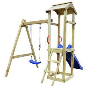 Playhouse With Slide Ladder Swing Set By Freeport Park