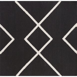 Inexpensive Webb Hand Woven Cotton Black/White Area Rug By Wrought Studio