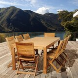Lizeth International Home Outdoor 9 Piece Teak Dining Set