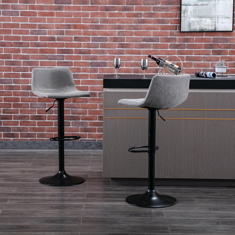 17 Stories Height Adjustable Barstools Bar Swivel Bar Chairs Vintage Vinyl Leather Set Of 2 Brown Wayfair