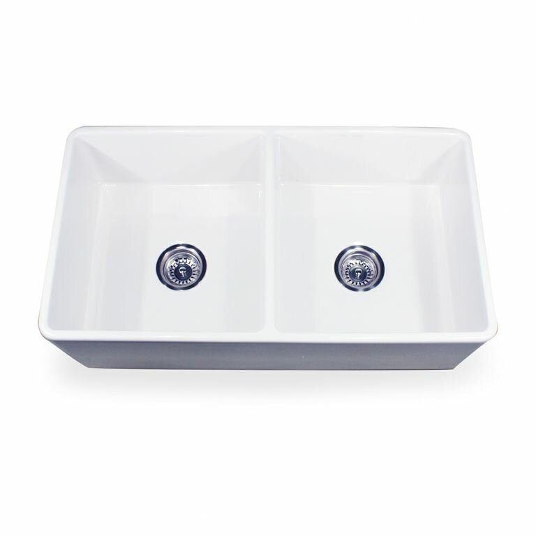 "nantucket sinks cape 33"" x 18"" double bowl kitchen sink with grids"