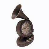 Analogue Metal Quartz Tabletop Clock in Brown