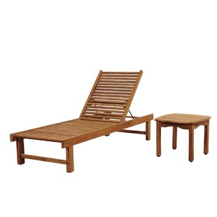 Elsmere Reclining Teak Chaise Lounge with Table