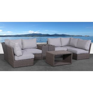 Alasdair 9 Piece Rattan Sectional Seating Group with Cushions by Highland Dunes
