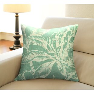 Floral Coral Botanical Linen Throw Pillow