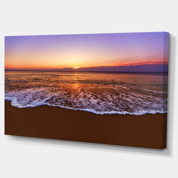 Designart Orange Tinged Sea Waters At Sunset Photographic Print On Wrapped Canvas Wayfair