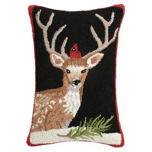 Fiecke Deer Cardinal Hook Wool Throw Pillow