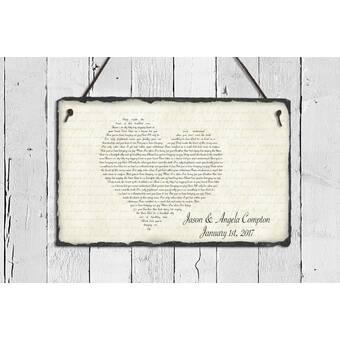 SassySquirrelInk Song Lyrics Slate Heart Plaque Wall Décor | Wayfair