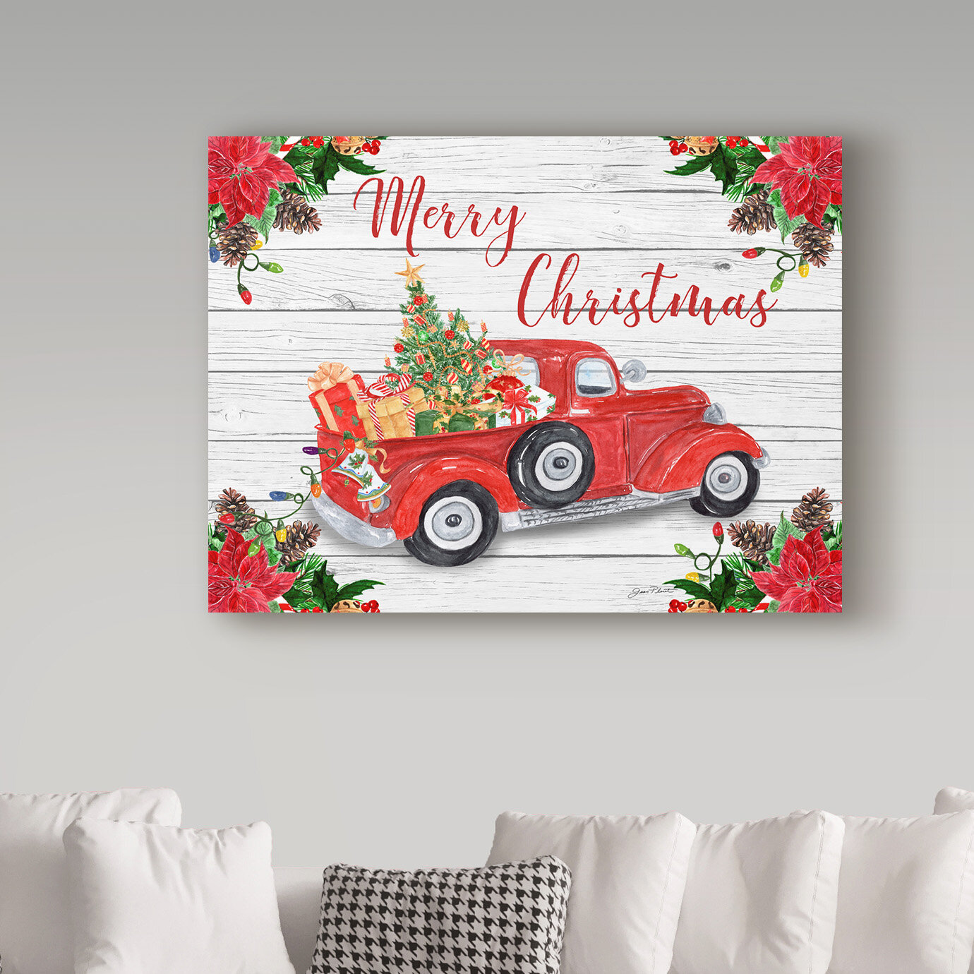 Vintage Red Truck Christmas Graphic Art Print On Wrapped Canvas Reviews Birch Lane