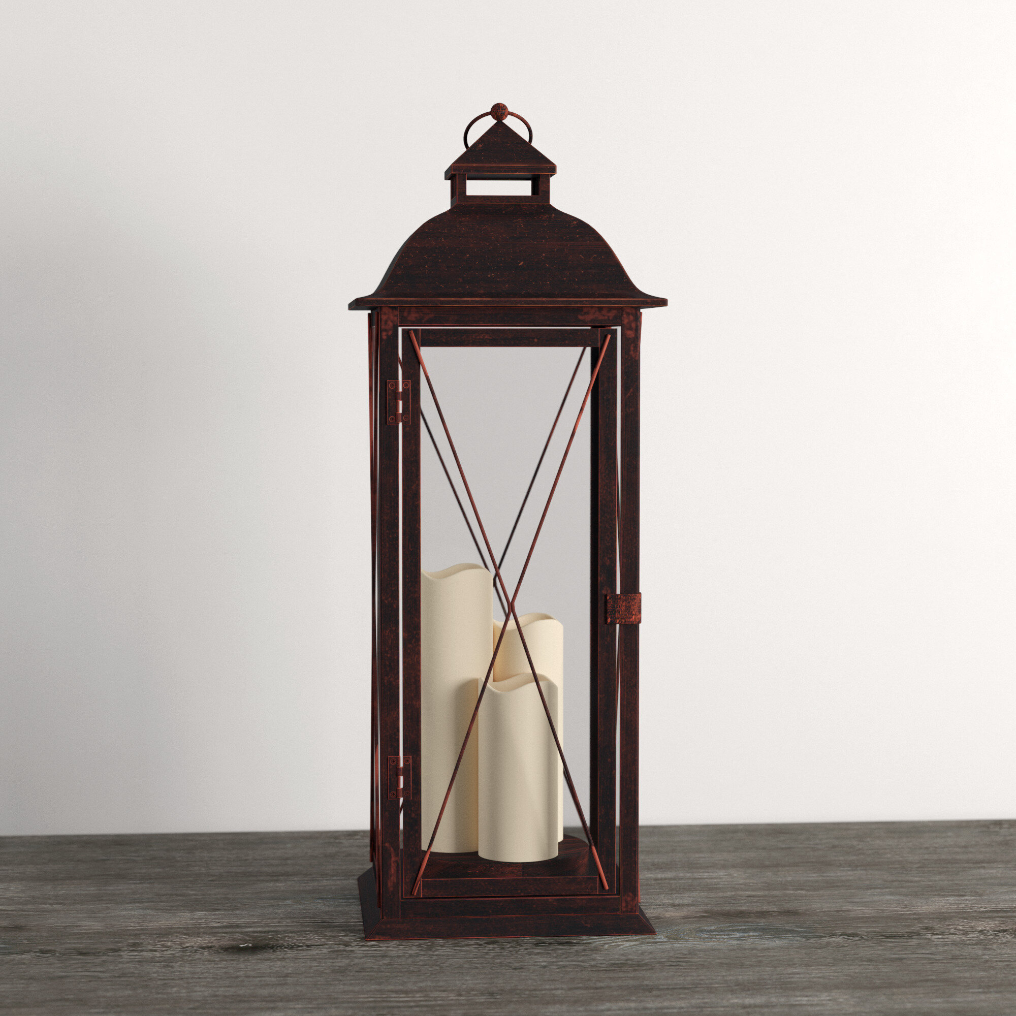 Three Posts Traditional Tall 27 25 Metal Floor Lantern With Candle Included Reviews Wayfair