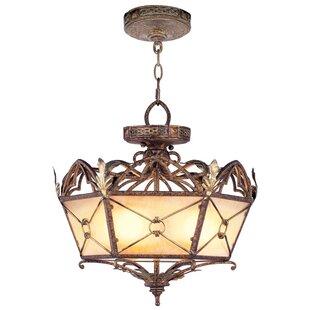 Fleur De Lis Living Bradner Convertible Pendant in Palacial Bronze with Gilded Accents