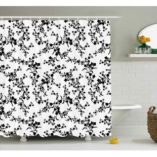 Savings Bradford Victorian Style Curved Flower Baroque Blooms Branches Artistic Vintage Motif Shower Curtain By Winston Porter